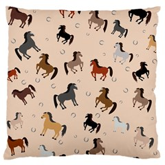 Horses For Courses Pattern Large Flano Cushion Case (two Sides) by BangZart