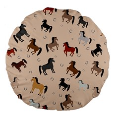 Horses For Courses Pattern Large 18  Premium Flano Round Cushions