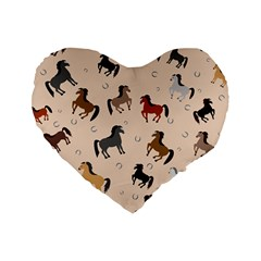 Horses For Courses Pattern Standard 16  Premium Flano Heart Shape Cushions by BangZart
