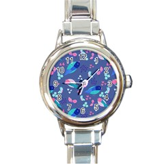 Birds And Butterflies Round Italian Charm Watch by BangZart