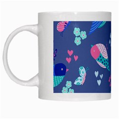 Birds And Butterflies White Mugs by BangZart