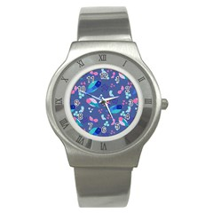 Birds And Butterflies Stainless Steel Watch by BangZart