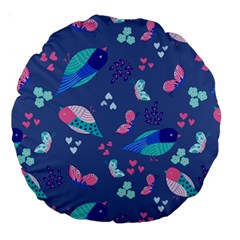 Birds And Butterflies Large 18  Premium Round Cushions by BangZart