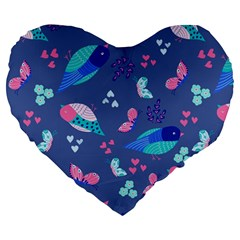 Birds And Butterflies Large 19  Premium Heart Shape Cushions by BangZart
