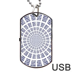 Illustration Binary Null One Figure Abstract Dog Tag Usb Flash (two Sides)