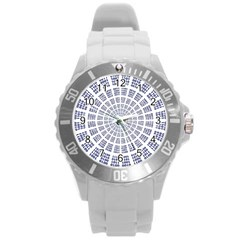 Illustration Binary Null One Figure Abstract Round Plastic Sport Watch (l) by BangZart