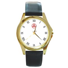 Rac Big Ben Face Lge Logo Top Round Leather Watch (gold Rim)  by mdnp
