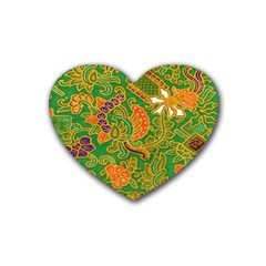 Art Batik The Traditional Fabric Rubber Coaster (heart)