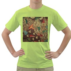 Art Traditional Flower  Batik Pattern Green T Shirt