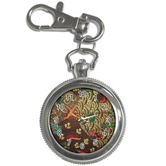 Art Traditional Flower  Batik Pattern Key Chain Watches