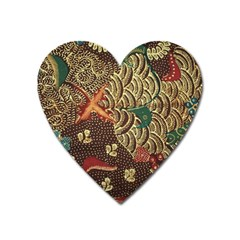 Art Traditional Flower  Batik Pattern Heart Magnet by BangZart
