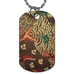 Art Traditional Flower  Batik Pattern Dog Tag (two Sides) by BangZart