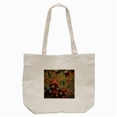 Art Traditional Flower  Batik Pattern Tote Bag (cream)