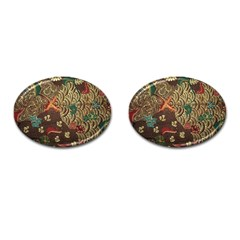 Art Traditional Flower  Batik Pattern Cufflinks (oval) by BangZart