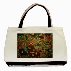 Art Traditional Flower  Batik Pattern Basic Tote Bag
