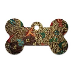 Art Traditional Flower  Batik Pattern Dog Tag Bone (two Sides) by BangZart