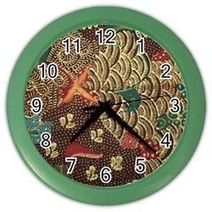 Art Traditional Flower  Batik Pattern Color Wall Clocks by BangZart