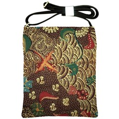 Art Traditional Flower  Batik Pattern Shoulder Sling Bags by BangZart