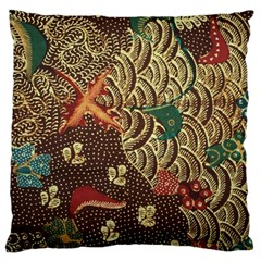 Art Traditional Flower  Batik Pattern Large Cushion Case (one Side) by BangZart