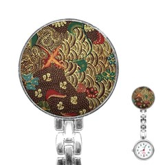 Art Traditional Flower  Batik Pattern Stainless Steel Nurses Watch