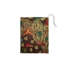 Art Traditional Flower  Batik Pattern Drawstring Pouches (xs)