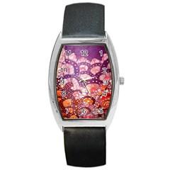 Colorful Art Traditional Batik Pattern Barrel Style Metal Watch