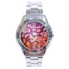 Colorful Art Traditional Batik Pattern Stainless Steel Analogue Watch by BangZart