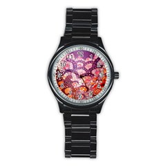Colorful Art Traditional Batik Pattern Stainless Steel Round Watch by BangZart