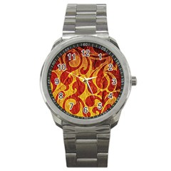 Abstract Pattern Sport Metal Watch