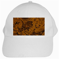 Art Traditional Batik Flower Pattern White Cap by BangZart