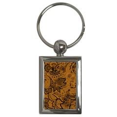 Art Traditional Batik Flower Pattern Key Chains (rectangle)