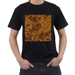 Art Traditional Batik Flower Pattern Men s T Shirt (black) (two Sided)