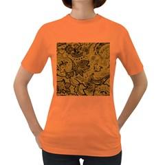 Art Traditional Batik Flower Pattern Women s Dark T Shirt