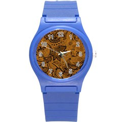 Art Traditional Batik Flower Pattern Round Plastic Sport Watch (s)