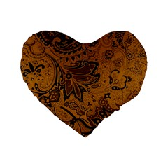 Art Traditional Batik Flower Pattern Standard 16  Premium Heart Shape Cushions by BangZart