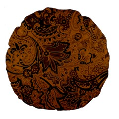 Art Traditional Batik Flower Pattern Large 18  Premium Flano Round Cushions by BangZart