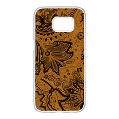 Art Traditional Batik Flower Pattern Samsung Galaxy S7 Edge White Seamless Case by BangZart