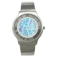 Art Batik Flowers Pattern Stainless Steel Watch
