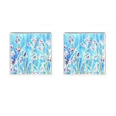Art Batik Flowers Pattern Cufflinks (square)