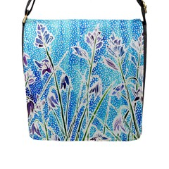 Art Batik Flowers Pattern Flap Messenger Bag (l)