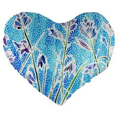 Art Batik Flowers Pattern Large 19  Premium Flano Heart Shape Cushions