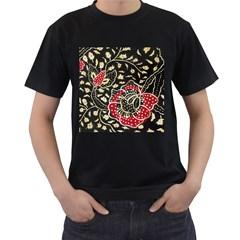 Art Batik Pattern Men s T Shirt (black) (two Sided)