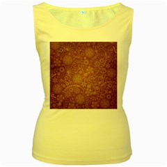 Batik Art Pattern Women s Yellow Tank Top