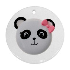 Pretty Cute Panda Round Ornament (two Sides)