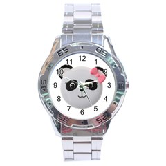 Pretty Cute Panda Stainless Steel Analogue Watch by BangZart