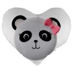 Pretty Cute Panda Large 19  Premium Flano Heart Shape Cushions by BangZart