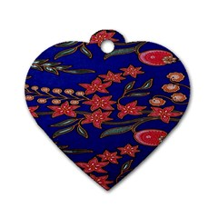 Batik  Fabric Dog Tag Heart (two Sides)
