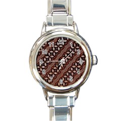 Art Traditional Batik Pattern Round Italian Charm Watch