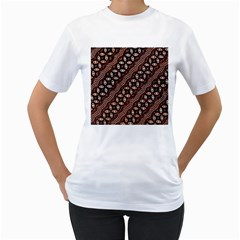 Art Traditional Batik Pattern Women s T Shirt (white) (two Sided)