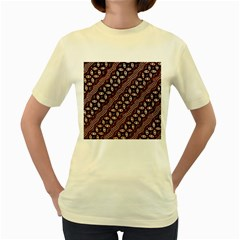Art Traditional Batik Pattern Women s Yellow T Shirt